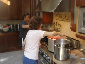 boiling the tomatoes