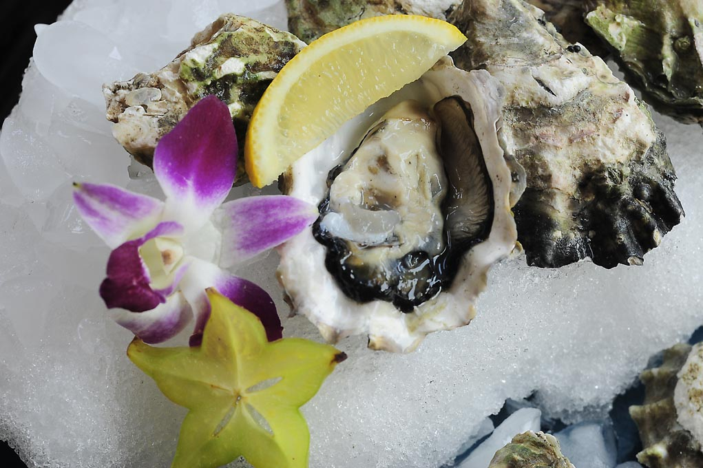 Kumamoto & Fanny Bay Oysters with Lemon and Star Fruit