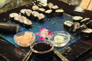 Sushi with tuna belly and spicy wasaby mayo