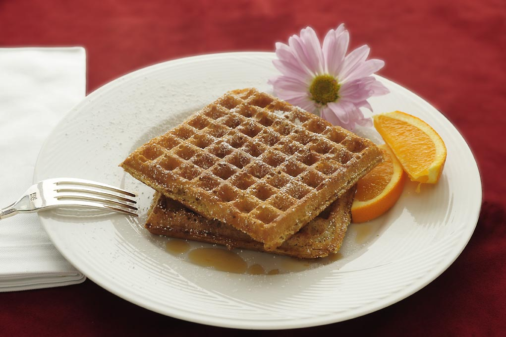 Waffles with walnuts & orange rind
