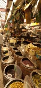 Barrels of olives and salted goods