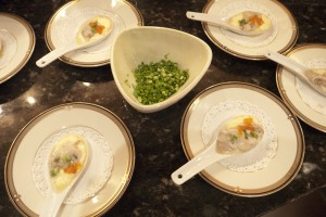 Amuse Bouche of oysters on tapioca w/ caviar