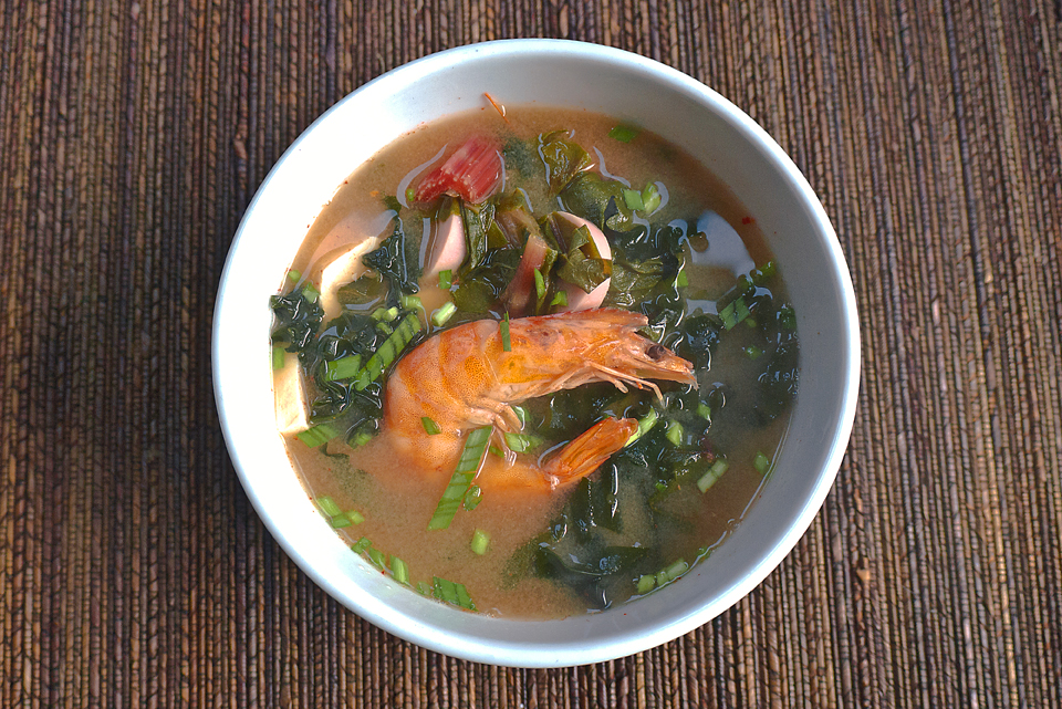 Swiss Chard, Shrimp & Tofu Soup for a winter day