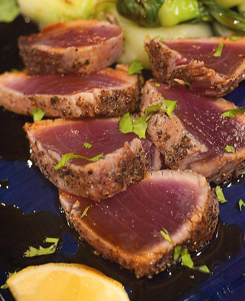 Seared tuna with bok choy and citrus soy sauce for Fish steak recipe