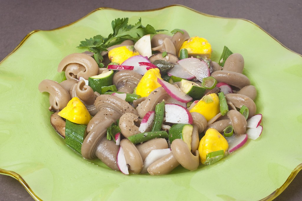 Porcini shaped & flavored pasta with Spring Vegetables