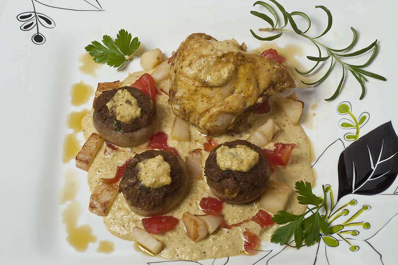 Curried Chicken & Stuffed Mushrooms with sauteed apples and tomatoes