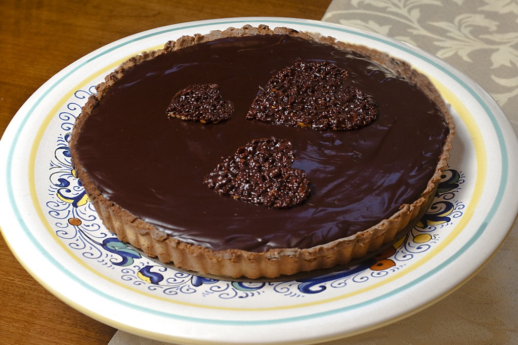 Valentine's Day Chocolate Ganache Tart with hearts on top ...