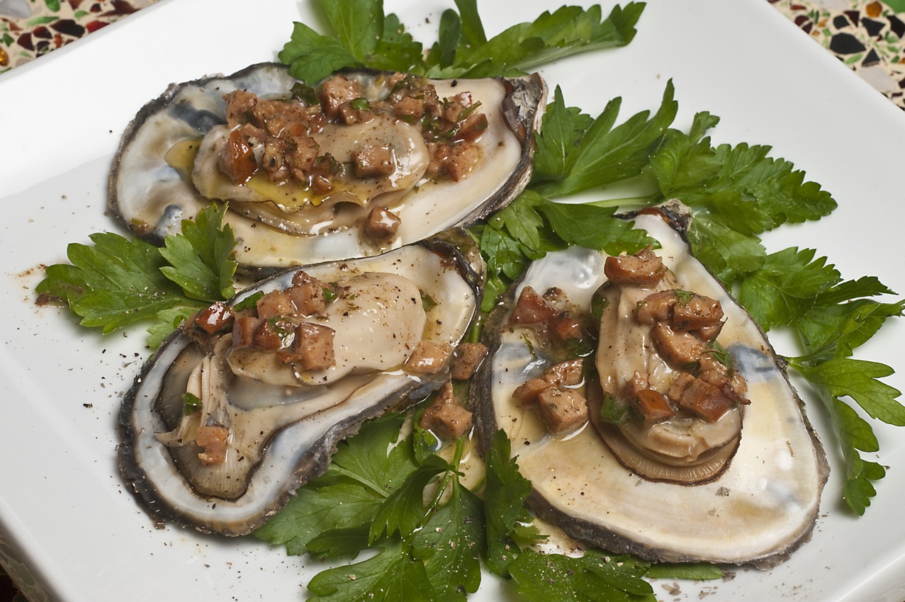 Grilled Oysters with Chicken Sausage Buttersauce
